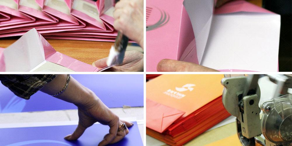 Сборка пакетов из бумаги и картона